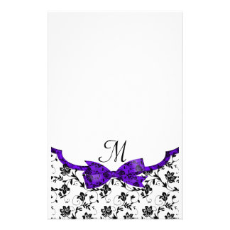 Black White & Purple Wedding Satin Floral Stationery