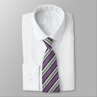 Black White Purplish Blue Striped Pattern Tie