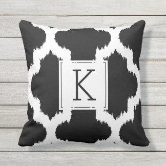 Black & White Quatrefoil Ikat Style Outdoor Cushion