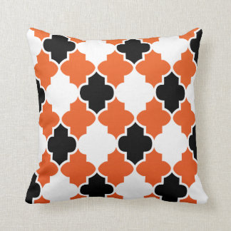 Black & White Quatrefoil on Orange Blend Throw Pillow