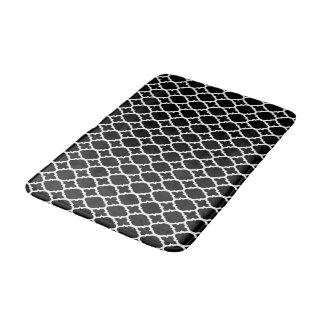 Black white quatrefoil pattern bath mat