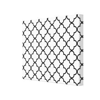 Black White Quatrefoil Pattern Canvas Prints