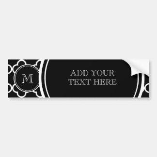 Black White Quatrefoil Pattern, Your Monogram Bumper Sticker