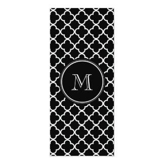 Black White Quatrefoil Pattern, Your Monogram Invites