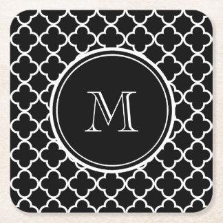Black White Quatrefoil Pattern, Your Monogram Square Paper Coaster