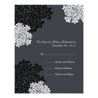 Black white Queen Anne s Lace Wedding RSVP Personalized Invite