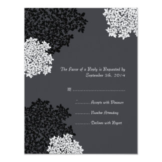 Black & white Queen Anne's Lace Wedding RSVP 11 Cm X 14 Cm Invitation Card