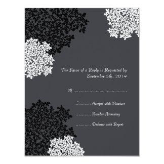 Black & white Queen Anne's Lace Wedding RSVP Personalized Invite