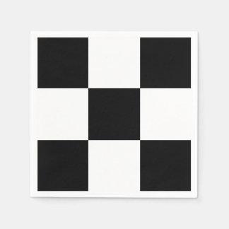 Black White Race Checkerboard Squares Custom Color Disposable Napkin