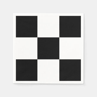 Black White Race Checkerboard Squares Custom Color Disposable Serviettes