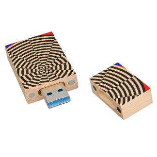 Black & White Radiation Wood USB 3.0 Flash Drive