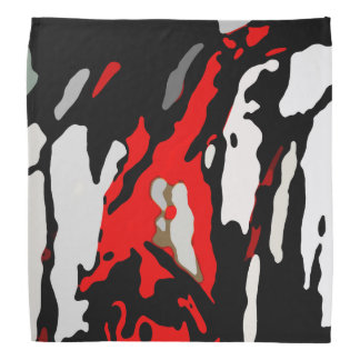 Black White Red Abstract Pattern Bandana