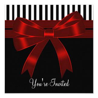 Black White Red All Occasion Party 13 Cm X 13 Cm Square Invitation Card