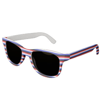 Black, White, Red and Blue Stripes Sunglasses