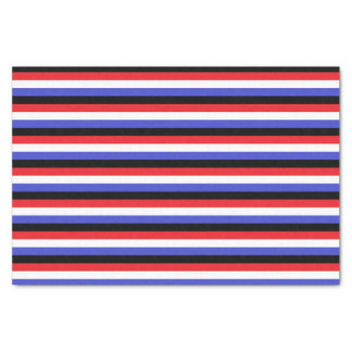 Black, White, Red and Blue Stripes Tissue Paper