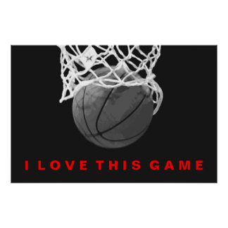 Black White Red Basketball Love Game Poster