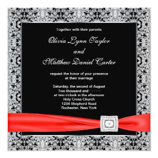 Black White Red Black Wedding 13 Cm X 13 Cm Square Invitation Card