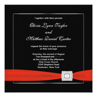 Black White Red Black Wedding Personalized Invites