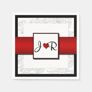 Black White Red Bohemian Posh Wedding Napkins Disposable Napkin