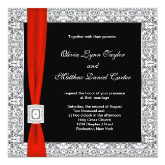 Black White Red Bow Wedding Card