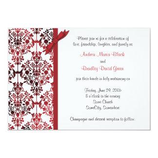 Black White Red Damask Floral Wedding Invitation
