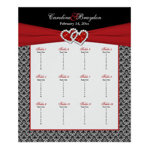 Black White Red Damask Heart Table Seating Poster