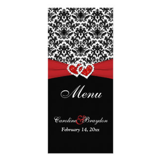 Black White Red Damask, Hearts Wedding Menu Rack Card Design