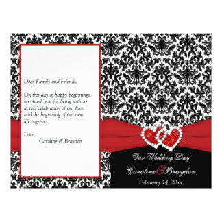 Black White Red Damask, Hearts Wedding Program 21.5 Cm X 28 Cm Flyer