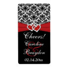 Black White Red Damask Hearts Wine Label