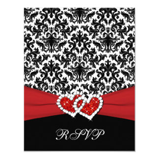 Black White Red Damask, Joined Hearts RSVP Card 11 Cm X 14 Cm Invitation Card