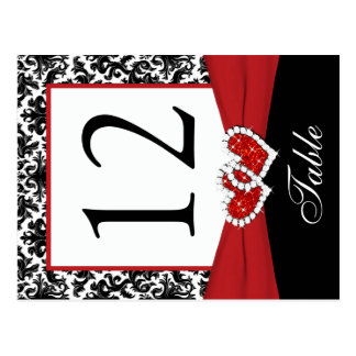 Black, White, Red Damask Table Number Post Card