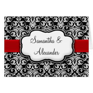 Black White Red Damask Wedding Invitation Folded Greeting Cards
