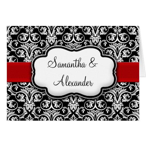 Black/White/Red Damask Wedding Invitation Folded Greeting Cards
