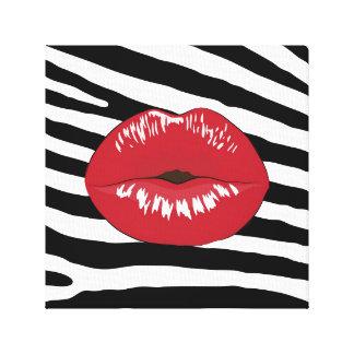 Black, white, red fashion glamour trendy lips canvas print