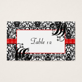 Black, White, & Red Floral Damask Business Card