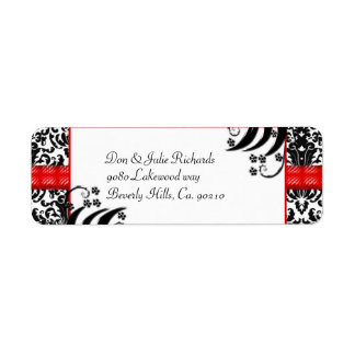 Black, White, & Red Floral Damask Return Address Label