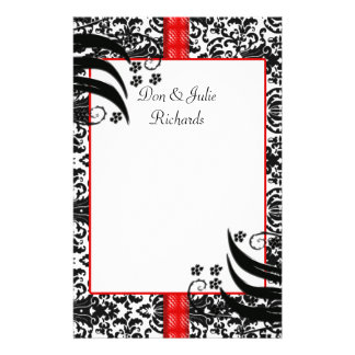 Black, White, & Red Floral Damask Customised Stationery