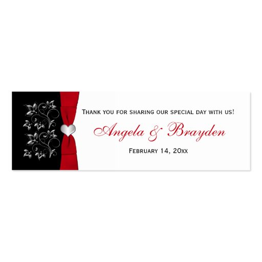 Black, White, Red Floral, Heart Wedding Favor Tag Business Cards