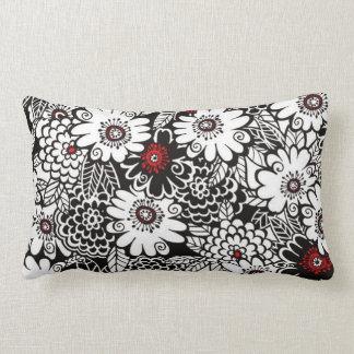 Black/White/Red Floral Lumbar Pillow