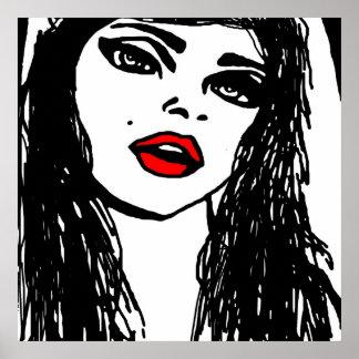 Black White & Red Girl Pop Art Poster