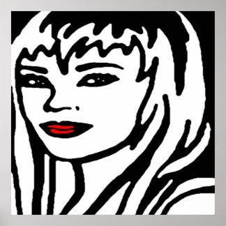 Black, White & Red Girl Pop Art Poster