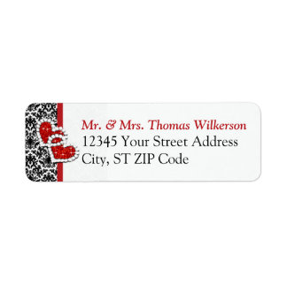 Black White Red Hearts Return Address Label