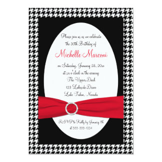 Black, White, Red Houndstooth 30th Birthday Invite