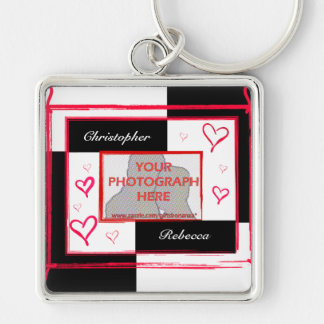 Black white red modern love heart photo frame Silver-Colored square key ring