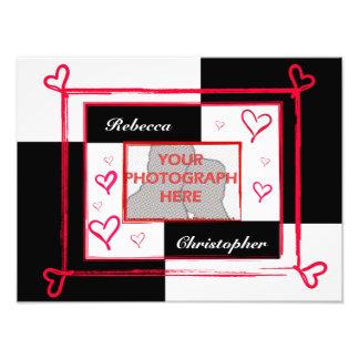 Black white red modern love heart photo frame
