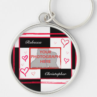 Black white red modern love heart photo frame Silver-Colored round key ring