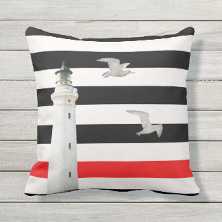 Black white red nautical stripes and lighthouse throw pillow