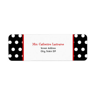 Black White & Red Polka Dot Address Label Sticker
