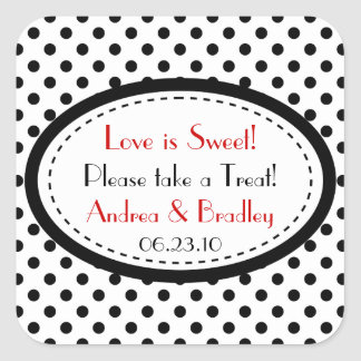Black White Red Polka Dot Candy Buffet Wedding Square Sticker