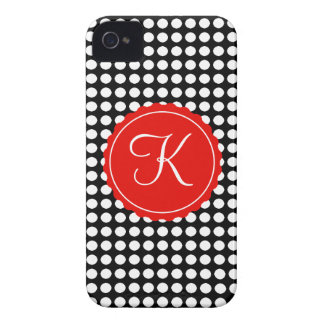 Black, White & Red Polka Dots Custom Initial iPhone 4 Covers